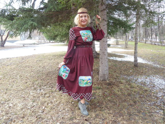 Этническая одежда ручной работы. Ярмарка Мастеров - ручная работа. Купить Времена  года. платье. Handmade. Бордовый, пуговицы декоративные