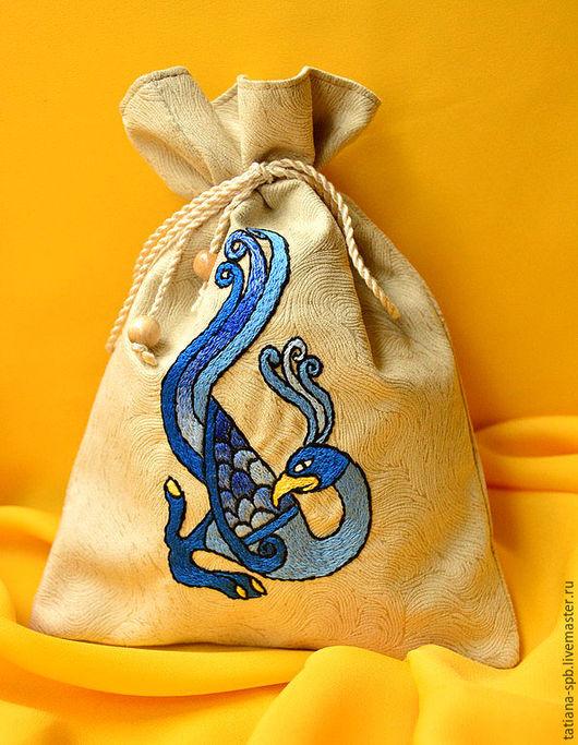 подарочная упаковка, вышитый мешочек, мешочек с вышивкой, упаковка для подарка, мешочек для мелочей, мешочек для подарка, кельтский орнамент, кельтский узор, кельты, кельтика, птица вышивка, кисет,