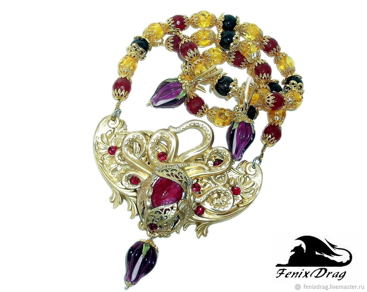 Necklace and earrings ruby and buds lampwork beads, Jewelry Sets, Kazan,  Фото №1