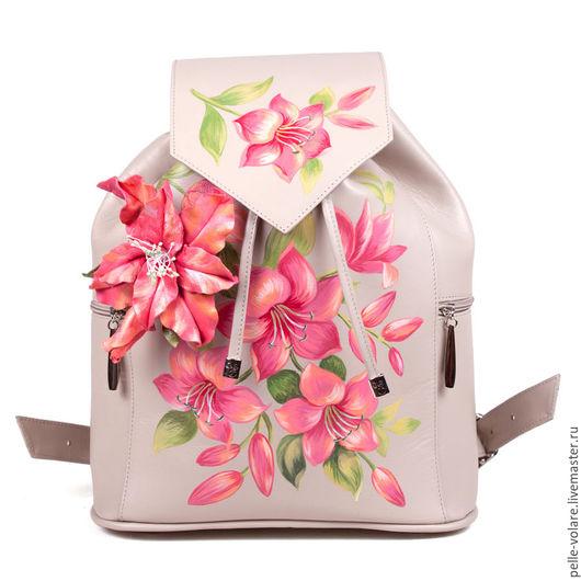 Лилии 3D женский рюкзачок из натуральной кожи не оставит ни кого равнодушным