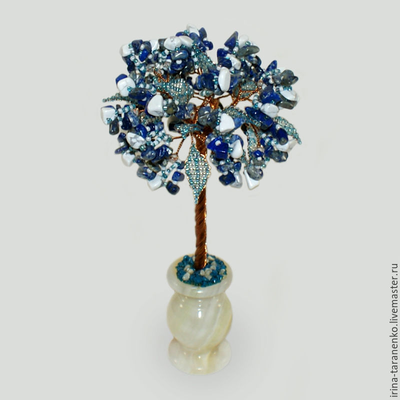 A tree made of lapis lazuli and cacholong (milk opal) `Morning`