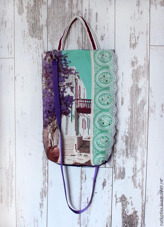 Женские сумки ручной работы. Ярмарка Мастеров - ручная работа. Купить Полдень на Санторини-5. Handmade. Комбинированный, винтажный стиль