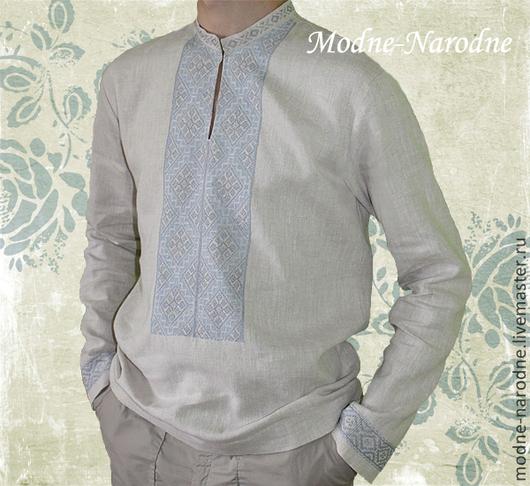 Льняная сорочка с ручной вышивкой Ясень. Модная одежда с ручной вышивкой. Творческое ателье Modne-Narodne.