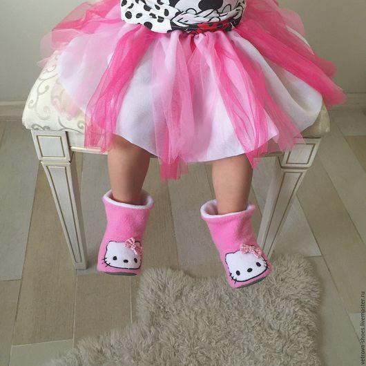 Обувь ручной работы. Ярмарка Мастеров - ручная работа. Купить Детские тапочки Hello Kitty. Handmade. Розовый, kitty