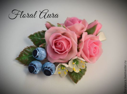 Заколки ручной работы. Ярмарка Мастеров - ручная работа. Купить Заколка-зажим с розами. Handmade. Розовый, заколка цветок