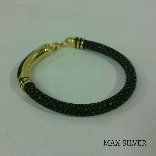 Браслеты ручной работы. Ярмарка Мастеров - ручная работа. Купить Браслет из кожи ската и серебра для мужчин  (MAX SILVER). Handmade.