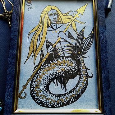 Картины и панно ручной работы. Ярмарка Мастеров - ручная работа Тритон с золотыми волосами и копьем. Handmade.
