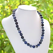Работы для детей, handmade. Livemaster - original item Beads made of natural stone sodalite. Handmade.