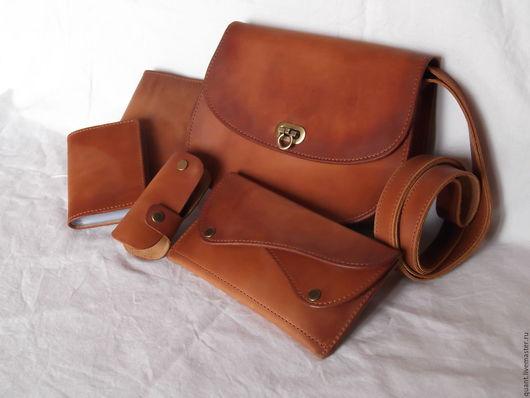 Женские сумки ручной работы. Ярмарка Мастеров - ручная работа. Купить кожаная женская сумочка и аксессуары в комплекте. Handmade. Рыжий