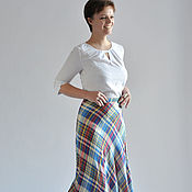 Одежда handmade. Livemaster - original item The semi-circular skirt Multicolored cage staple. Handmade.