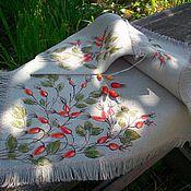 Для дома и интерьера handmade. Livemaster - original item Large linen napkin in a bag. Briar.. Hand painted. Handmade.