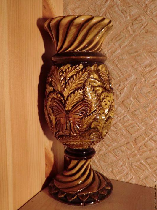 Вазы ручной работы. Ярмарка Мастеров - ручная работа. Купить Ваза из дерева Бабочки Художественная резьба. Handmade. Коричневый, sale