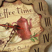 """Для дома и интерьера ручной работы. Ярмарка Мастеров - ручная работа """"Утро начинается с кофе"""" часы. Handmade."""
