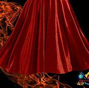 """Одежда ручной работы. Ярмарка Мастеров - ручная работа натуральная бархатная юбка миди """"Огненно-красная"""". Handmade."""