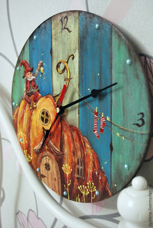 Часы для дома ручной работы. Ярмарка Мастеров - ручная работа. Купить Сказочные Часы. Handmade. Сказочные часы, дом из тыквы