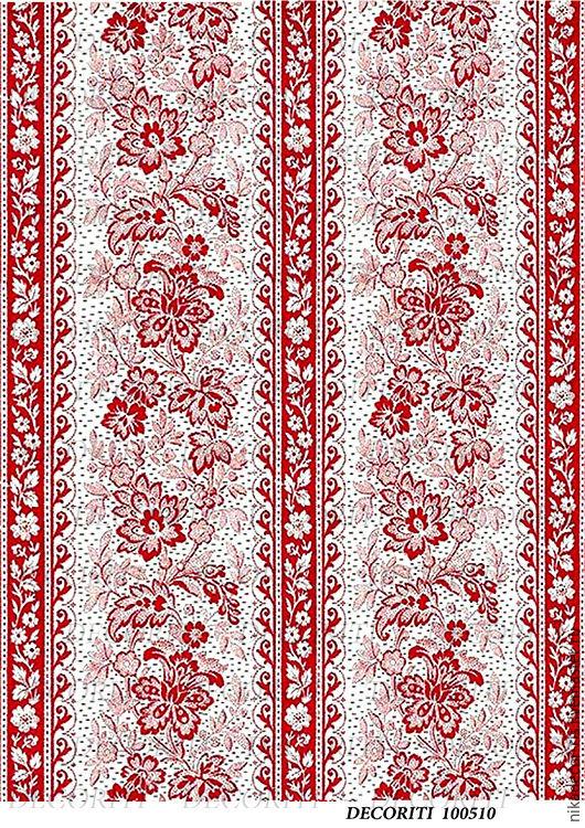 Декупаж и роспись ручной работы. Ярмарка Мастеров - ручная работа. Купить Красивый орнамент, красный (D100510) - рисовая бумага, А4. Handmade.