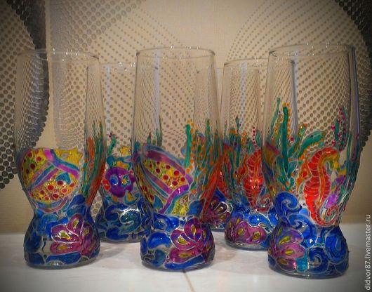 """Бокалы, стаканы ручной работы. Ярмарка Мастеров - ручная работа. Купить Набор стаканов """"МОРЕ"""". Handmade. Синий, вода"""