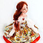 Куклы и игрушки ручной работы. Ярмарка Мастеров - ручная работа Будуарная кукла паперклей, текстиль Машенька. Хохлома на белом.. Handmade.