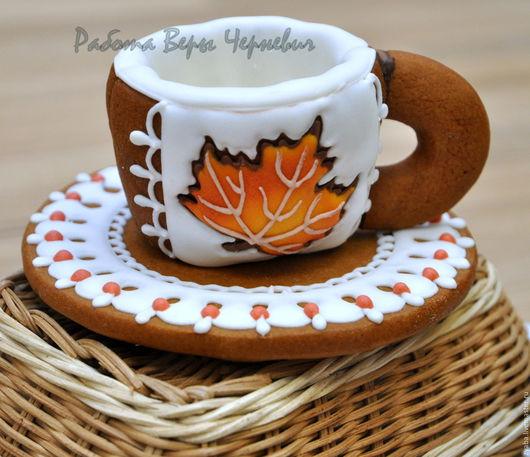 """Кулинарные сувениры ручной работы. Ярмарка Мастеров - ручная работа. Купить """"Осенний вальс"""" - пряничные чашечки для кофе или чая. Handmade."""