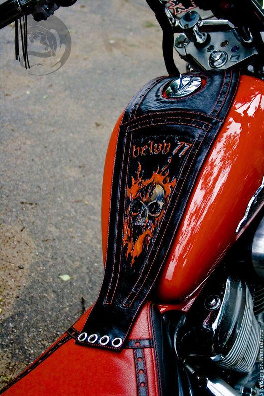 Авторский галстук на бак `Пламя` Кожевенная мастерская `Silver Dragon`