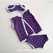 Блузка, трусики + повязочка для фотосессии новорожденных малышей