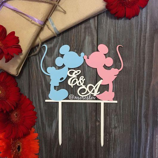 Свадебные аксессуары ручной работы. Ярмарка Мастеров - ручная работа. Купить Микки и Минни Маус с инициалами. Handmade. Голубой