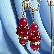Украшения ручной работы. Ярмарка Мастеров - ручная работа Рубиновые серьги из агата,позолота. Handmade.