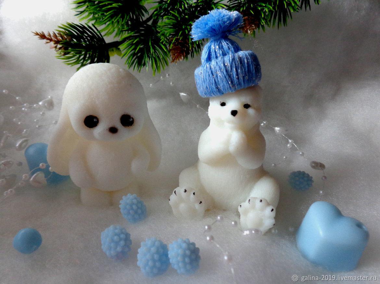 """Мыло """"Ждём Новый год"""" Белый медведь и зайчик Лютик, Мыло, Москва, Фото №1"""