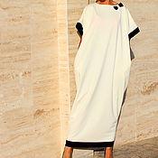 Одежда ручной работы. Ярмарка Мастеров - ручная работа Белое макси элегантное платье, кафтан, абайя весна лето. Handmade.