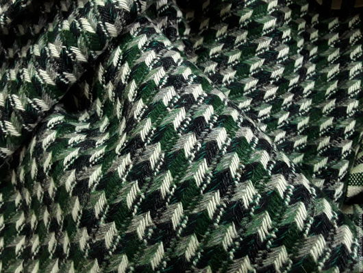 """Шитье ручной работы. Ярмарка Мастеров - ручная работа. Купить Костюмно-пальтовая шерсть в елочку """"Серо-зеленая"""". Handmade."""