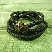 Украшения handmade. Livemaster - original item Leather braided bracelet winding button. Handmade.