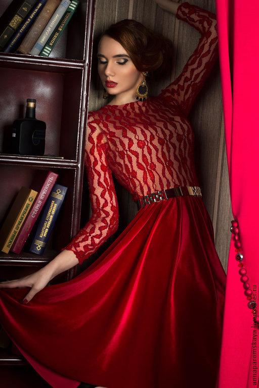 """Платья ручной работы. Ярмарка Мастеров - ручная работа. Купить Платье """"Красный бархат"""". Handmade. Ярко-красный, платье из гипюра"""