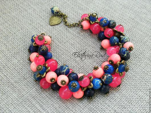 """Браслеты ручной работы. Ярмарка Мастеров - ручная работа. Купить Браслет из камней """"Орхидеи"""" розово синий,фуксия, сине розовый. Handmade."""