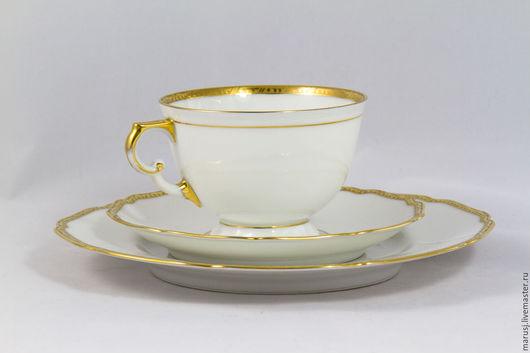 Винтажная посуда. Ярмарка Мастеров - ручная работа. Купить Белоснежное кофейное трио. Handmade. Белый, фарфоровая кофейная пара