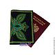Обложки ручной работы. Ярмарка Мастеров - ручная работа. Купить ГРИН обложка на паспорт Точечная роспись. Handmade. Тёмно-зелёный