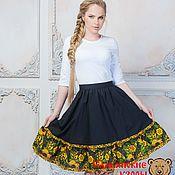 Одежда handmade. Livemaster - original item Black linen skirt with flounce hem. Handmade.