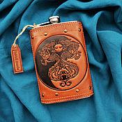 "Фен-шуй и эзотерика handmade. Livemaster - original item Leather flask ""DRAGONS YIN YANG"". Handmade."