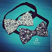 handmade. Livemaster - original item Tie Black-and-white flowers / butterfly-tie on the choice. Handmade.