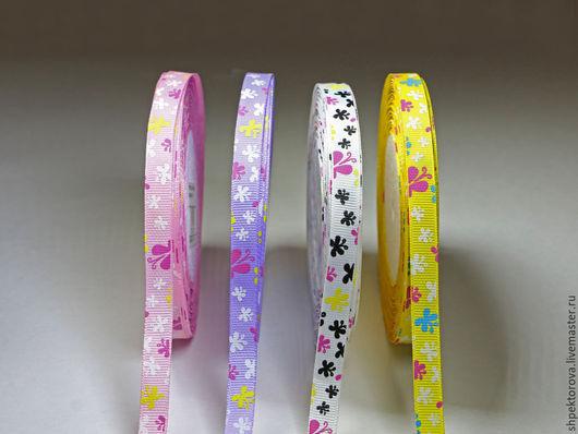 Другие виды рукоделия ручной работы. Ярмарка Мастеров - ручная работа. Купить Ленты репсовые с рисунком Бабочки1 10мм. Handmade.