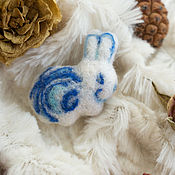 Украшения handmade. Livemaster - original item Bunny - Gzhel - wool pin felting. Handmade.