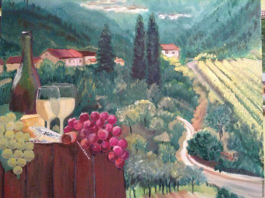 Пейзаж ручной работы. Ярмарка Мастеров - ручная работа. Купить Тоскана. Handmade. Зеленый, интерьер, картина в подарок, картина для интерьера