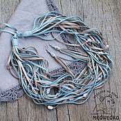 Украшения handmade. Livemaster - original item Jewelry set made of leather azure. Handmade.