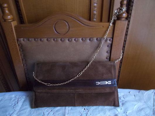 Винтажные сумки и кошельки. Ярмарка Мастеров - ручная работа. Купить Сейчас 35 евро.клатч замшевый  винтаж италия. Handmade.