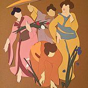 """Картины и панно ручной работы. Ярмарка Мастеров - ручная работа Аппликация """"Япония""""""""Перу"""". Handmade."""