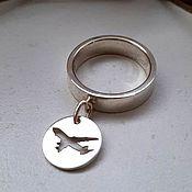 Украшения handmade. Livemaster - original item Ring with a pendant (pendant) airplane, silver (K45). Handmade.