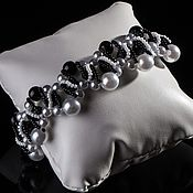 Украшения handmade. Livemaster - original item Black and white bracelet. White Pearl. Black agate. beads.. Handmade.