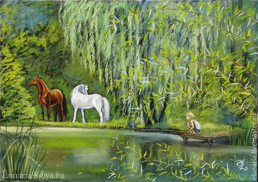 Пейзаж ручной работы. Ярмарка Мастеров - ручная работа. Купить Горное озеро. Handmade. Салатовый, картина маслом, лошади, любовь