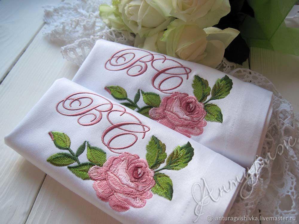 Подарки на свадьбу ручной работы. Ярмарка Мастеров - ручная работа. Купить Свадебные салфетки с вышивкой 4272 Монограмма ВС. Handmade.