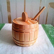 Посуда handmade. Livemaster - original item Barrel made of cedar for sugar, salt, honey. Sugar bowl. salt shaker. Handmade.