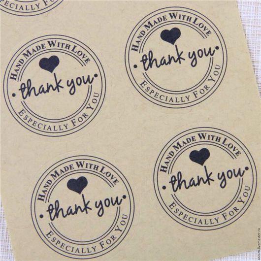 """Упаковка ручной работы. Ярмарка Мастеров - ручная работа. Купить Крафт наклейки """"Thank you"""" для упаковки.. Handmade. Наклейки, этикетки"""